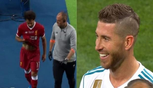 Reacción de Sergio Ramos ante la salida de Mohamed Salah (Captura y video: YouTube).