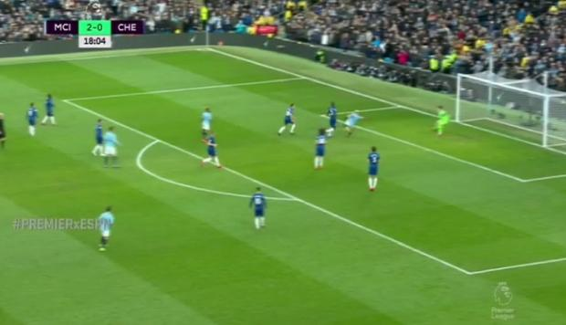 Sergio Agüero marca el tercero del Manchester City. (Captura y video: ESPN)
