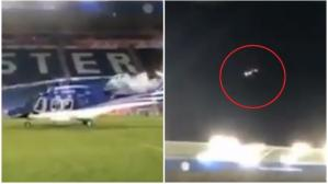 El despegue y caída del helicóptero cerca al estadio de Leicester City (Captura y video: The Sun).