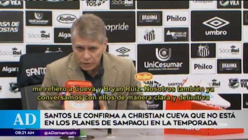 Santos confirmed that Christian Cueva is not part of Jorge Sampoli's plans. (America TV)