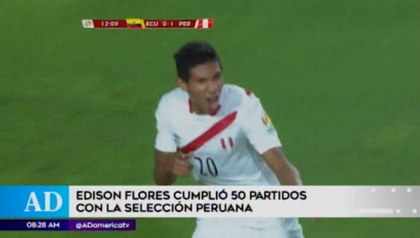 Peruvian Selection: Edison Flores and her 50 parties with the 'bicolor'. (America TV)