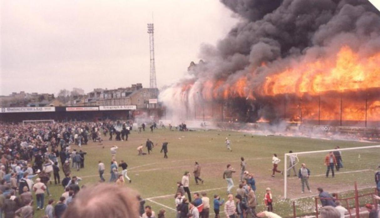 Inglaterra, 1985. Incendio en el Estadio de Valley Parade (Foto: internet)