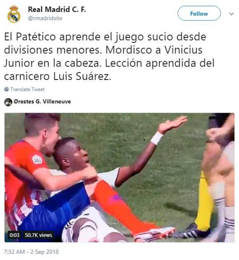 Youtube viral: Vinicius Junior fue mordido en la cabeza en choque del filial del Real Madrid nndc